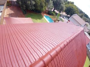 Newly painted tile roof
